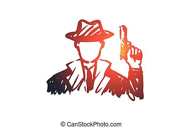 Observe, glass, gun, person, detective concept. Hand drawn isolated vector.