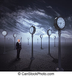 Observe the passage of time - Man in isolated place with...