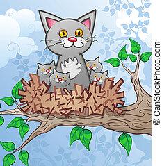 observeer vogels nest, spotprent, katjes