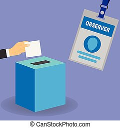 Observer badge - Hand putting a white card in a ballot box...