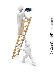 Observer. Teamwork - Image contain the clipping path