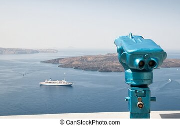Observing binoculars in Santorini, Greece