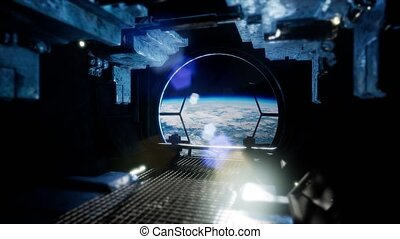 Observing Earth From Space Station Windows Blue Earth and...