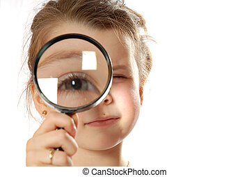 Observing - girl with magnifying glass