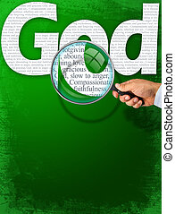 obserwacja, bóg, szkło, pod, powiększający, nazwa