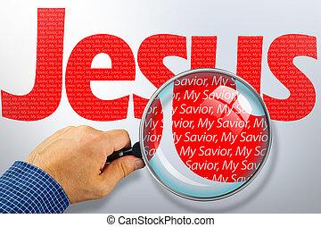 obserwacja, jezus, szkło, pod, powiększający, nazwa