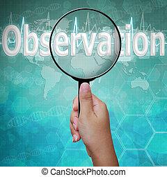 obserwacja, słowo, w, szkło powiększające, tło, medyczny