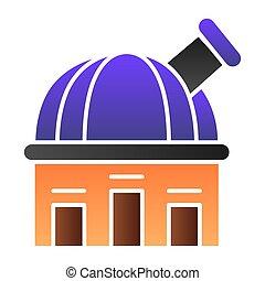 obserwatorium, płaski, icon., teleskop, kolor, ikony, w, modny, płaski, style., astronomia, nachylenie, styl, projektować, projektowany, dla, sieć, i, app., eps, 10.