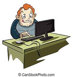 obsesionado, usuario de computadora, con, blog