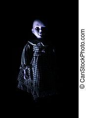 obsesionante, Niño, figura, muñeca