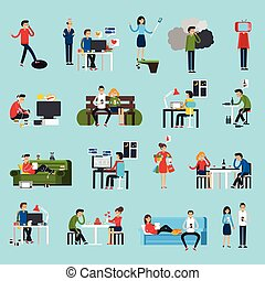 Obsessions Icons Set - Obsessions icons set with addictions...