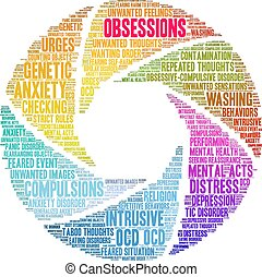 Obsessions word cloud on a white background.
