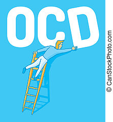 Obsessive compulsive disorder - Cartoon illustration of an...