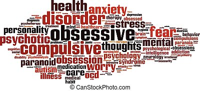 Obsessive word cloud concept. Vector illustration