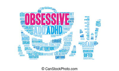 Obsessive Word Cloud - Obsessive ADHD word cloud on a white...