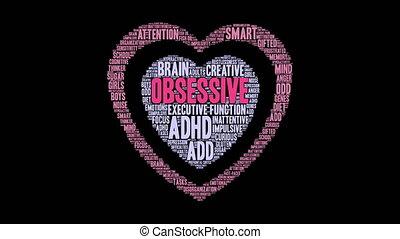 Obsessive Word Cloud - Obsessive ADHD word cloud on a white...
