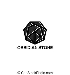 obsidian stone logo vector