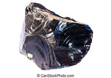 Obsidian (volcanic glass) - Width of the sample from Armenia...