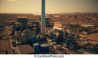 obsolète, charbon, centrale électrique, vue aérienne