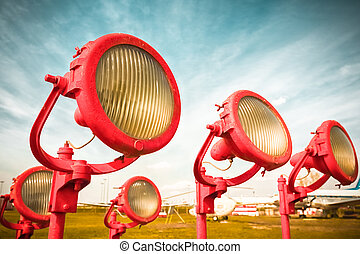 obsolete airplane the lamps of a landing strip - old...