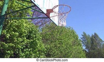Obsolete Basketball hoop on blue sky background