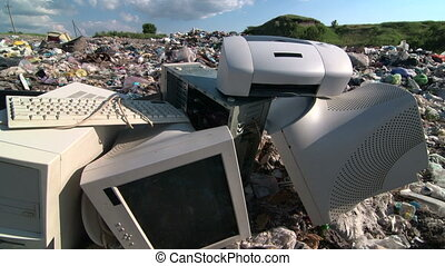 Obsolete desktop computer scrap at the landfill site