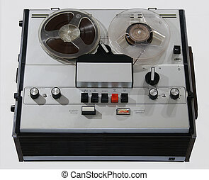 obsolete tape recorder with two bobbins on white background