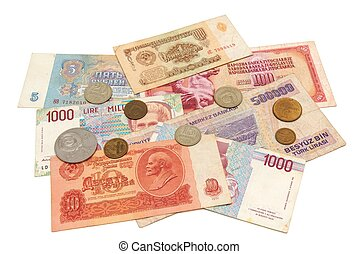 Obsolete money isolated