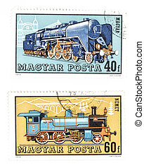Obsolete post stamps with trains