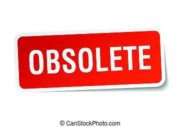 obsolete square sticker on white