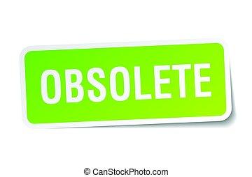 obsolete square sticker on white
