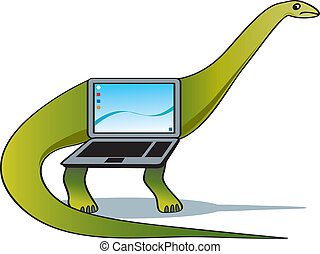 An obsolete laptop morphing into a dinosaur.