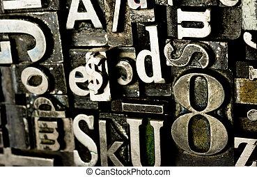 obsoleto, stampa, testo, metallo, composto, premere, tipo, tipografia
