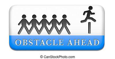 obstáculo, adelante