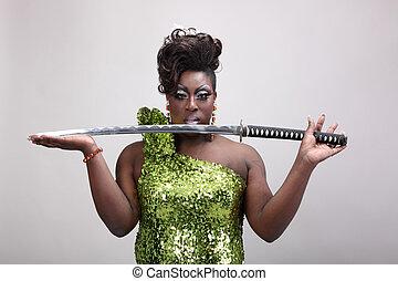 obstáculo, reina, tenencia, espada