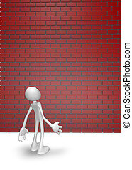 obstacle - cartoon guy looks at high brick wall - 3d...