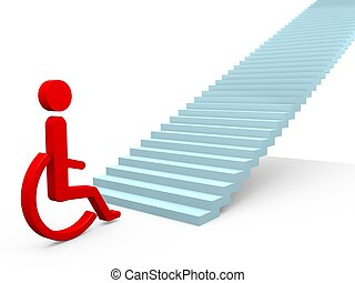 Obstacle - Handicapped people confronted with an obstacle