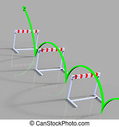 Obstacle Hurdle Indicates Overcome Problems And 1St -...