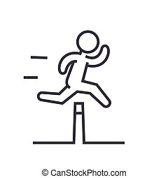 Obstacle race concept flat line illustration, concept vector isolated icon on white background
