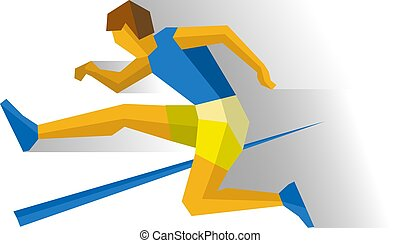 Obstacle race runner, track-and-field athletics