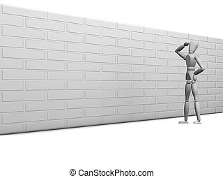 Obstacle - 3D render showing someone with an obstacle to...