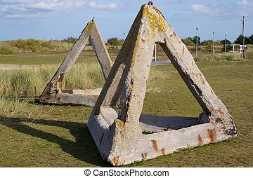 Obstacle - Tetrahedrons at Juno Beach Centre in Normandy,...