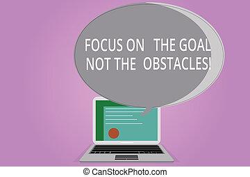 obstacles., bubble., fotografie, počítač na klín, ohnisko, dokončit, projekt, branka, vysvědčení, cíl, dílo, řeč, pojmový, chránit, být, povolání, showing, halftone, ne, rukopis, odhodlaný, showcasing