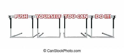 obstacles, but, reussite, il, vous-même, sauter, boîte, poussée, vous, 3d