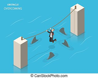 Obstacles overcoming flat isometric vector concept. A...