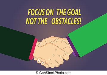 obstacles., text, photo., ohnisko, firma, úcta, dokončit, branka, cíl, fotografie, pojmový, být, showing, dohoda, hu, ruce, ne, pozdrav, analýza, odhodlaný, otřes, gesto