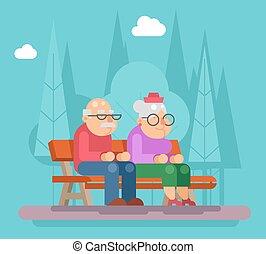obstaroný kuplovat, sedění, dále, jeden, lavice, od park, promenovat, byt, design, vektor, ilustrace