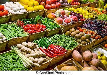 obststand, mit, verschieden, bunte, frische früchte gemüse
