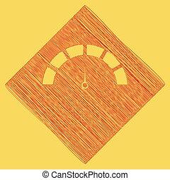 obtained, illustration., rhomb, path., koninklijk, geel teken, achtergrond., aftrekking, vector., krabbelen, pictogram, snelheidsmeter, rood, resultaat