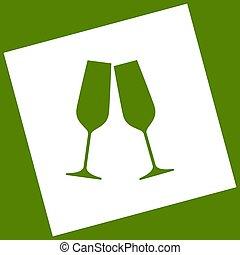 obtained, quadrado, ícone, abacate, cintilante, girado, glasses., experiência., resultado, vector., branca, champanhe, path., subtração